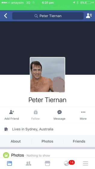 Peter Tiernans facebook page which has since been deleted