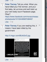 Peter Tierney threatening a medical choice advocate